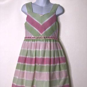 Rare editions striped dress jeweled waistband